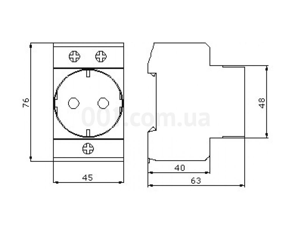 Габаритные размеры розетки на DIN-рейку ECO SC 2PE АСКО-УКРЕМ 85d6284c085