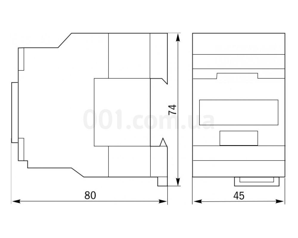 Габаритные размеры контакторов малогабаритных КМИ-10910, КМИ-10911 IEK изображение